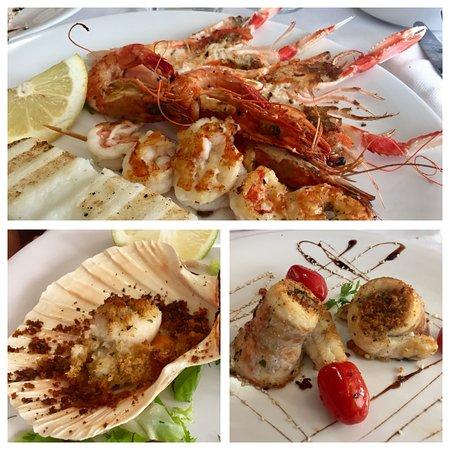 Silea, Italy: Secondi: capasanta gratinata, grigliata di crostacei, e filetti di branzino.