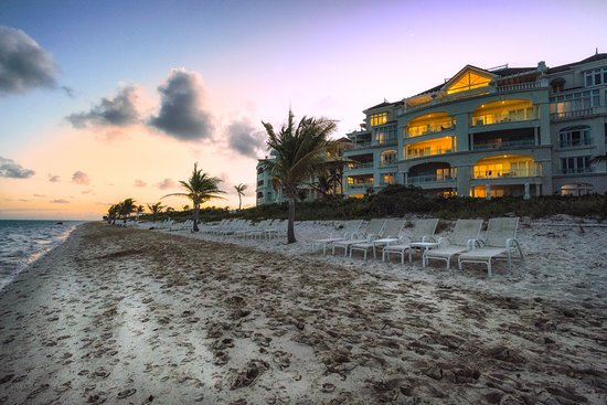 Shore Club after sunset from Long Bay Beach