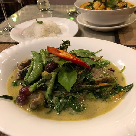 Orchids: Duck red and green curries