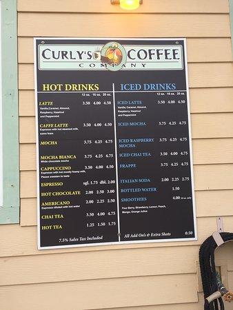 Curly's Coffee Company: Menu (January 2018)