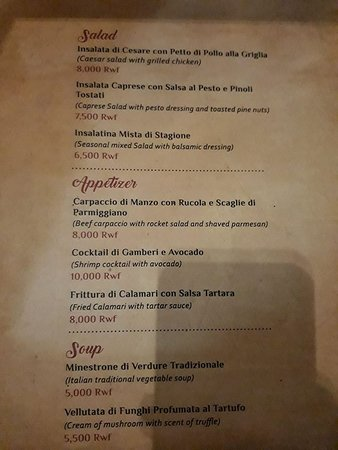 Menu picture of cucina restaurant kigali tripadvisor for Menu cucina