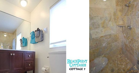 Beachpoint Cottages: New large shower and remodeled bath ensuite in Cottage 7.