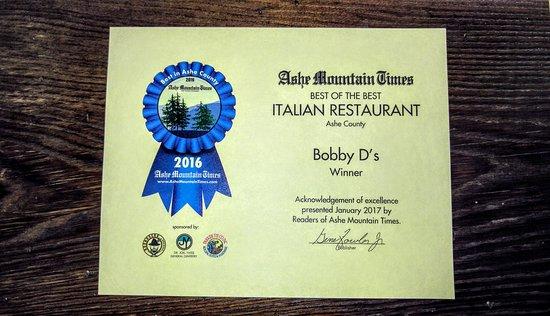 Jefferson, Kuzey Carolina: Voted BEST Italian restaurant 2016