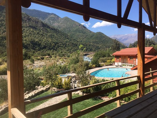 Maule Region, Chili: Looking at the pool and hot tub from the Cabana Volcan Azufre.