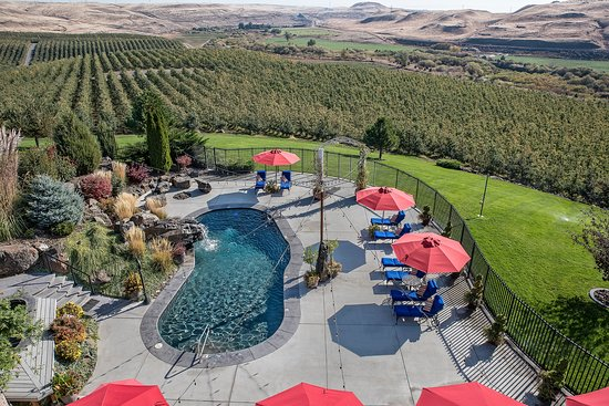 Touchet, WA: Beautiful natural looking pool with water falls are a featured aspect of Cameo Heights Mansion.