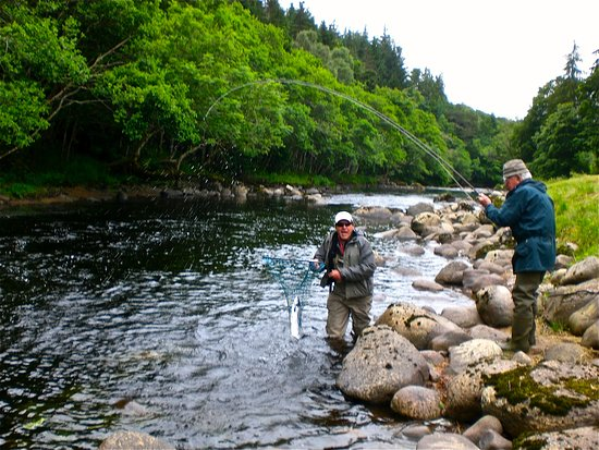 Evanton, UK: Roger netting my 83 year old dad's first salmon!