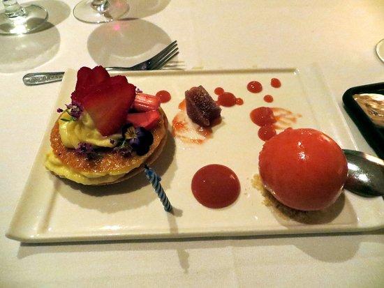 St. John's Restaurant: Strawberry and Rhubarb Tart with Strawberry Sorbet