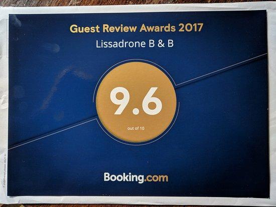 Carrowmore-Lacken, ไอร์แลนด์: Booking.com guest review award 2017