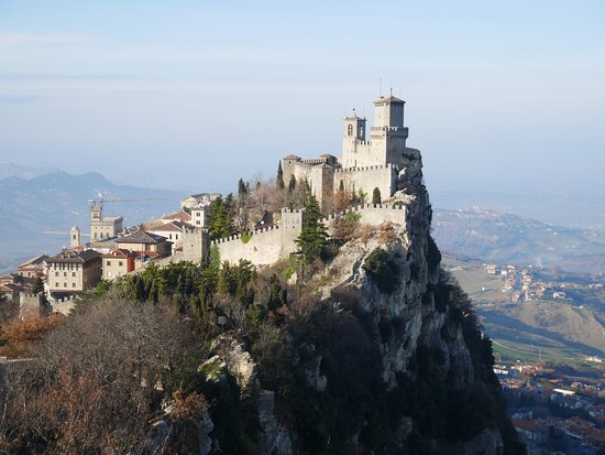 City of San Marino, San Marino: Passo delle Streghe with Guaita Tower. View from Falesia (Second) Tower.