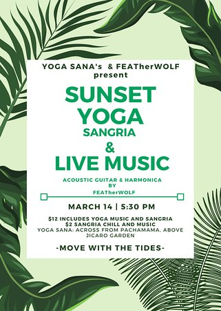 Yoga Sana: Special event at the studio -- Sunset yoga Sangria and live music