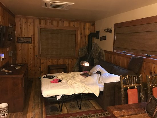 Tahoe Vista, Califórnia: Living area with sofa sleeper pulled out