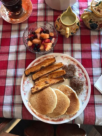 Emlenton, PA: Coconut pancakes, sweet potato strips, fresh sausage, fruit cup, all the coffee you can drink!