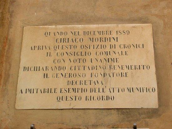 Palazzo Mordini: Targa commemorativa