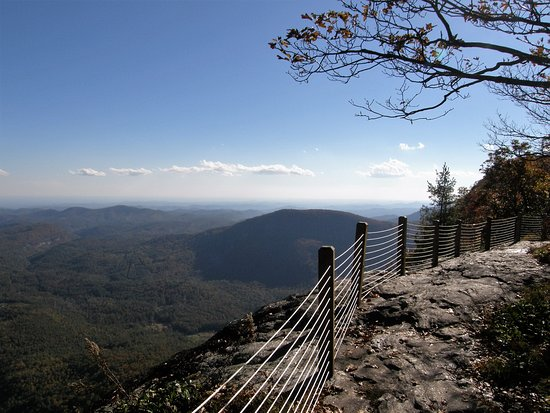 Jackson County, NC: At the summit of Whiteside Mountain, the trail runs close to the edge.