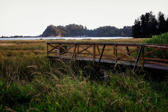 Ilwaco, Вашингтон: View of dock from main house at China Beach Retreat.