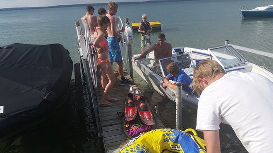 Higgins Lake, MI: loading up to tube.