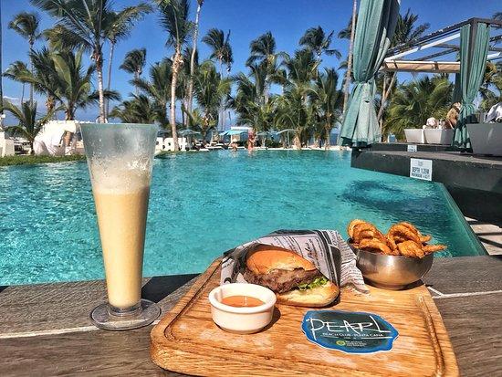 Pearl Beach Club Hamburger And Pina Colada
