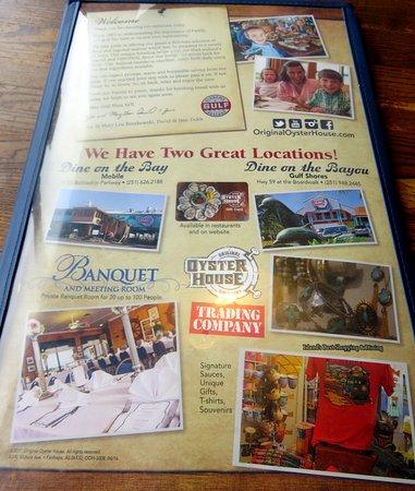 Spanish Fort, AL: restaurant information on the back of the menu