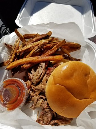 Cornelia, GA: Brisket sandwich plate and fried banana peppers