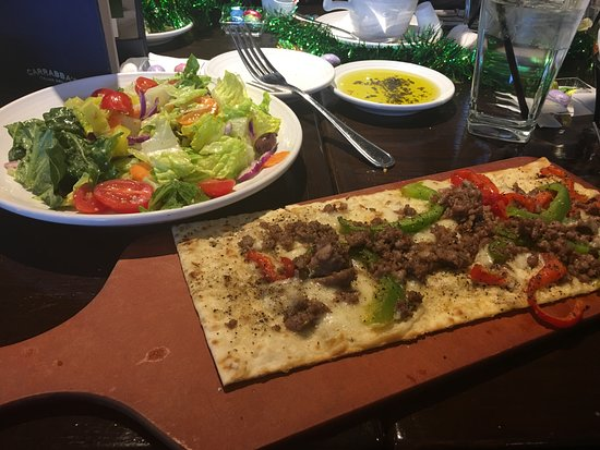 Carrabba's Italian Grill: Salad and pepper and sausage flat bread