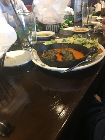 Carrabba's Italian Grill: Stuffed mushrooms and Caesar salad