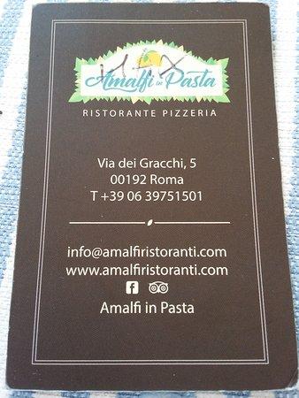 Amalfi Ristorante Pizzeria La Carte De Visite