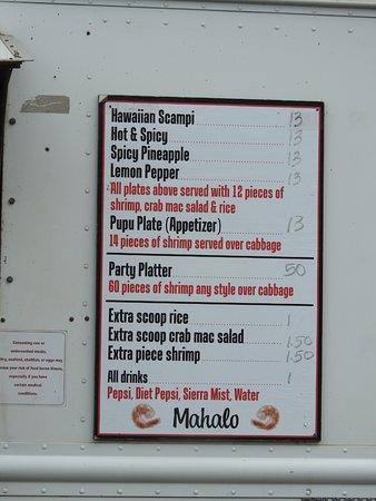 Hk Seafood Food Truck Menu