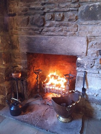Romaldkirk, UK: Open fire in Rose and Crown Pub