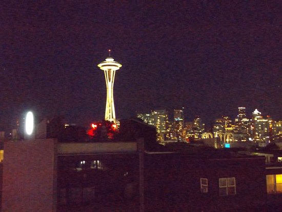 Seattle night skyline from the rooftop garden of Mediterranean Inn