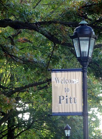 University of Pittsburgh: Welcome Sign Near Campus Bus Stop