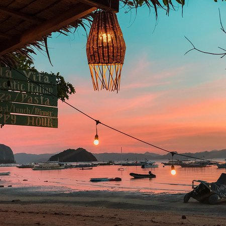 Shows the Bella Vita restaurant view at sunset