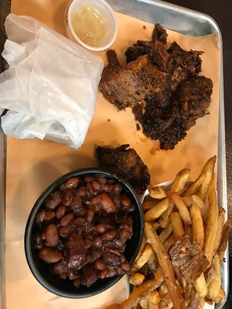 Windsor, CT: burnt ends, fries and baked beans with a corn bread