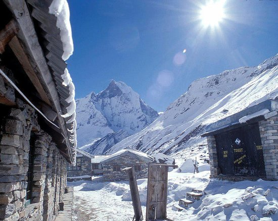 Annapurna Mountain Range: mt. Fistail from  Annapurna Base Camp on backdrop