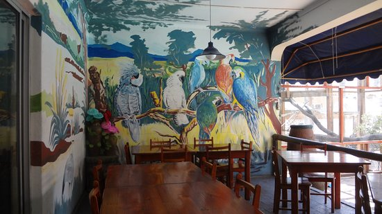Robertson, Южная Африка: Birds Paradise Mural on Restaurant wall