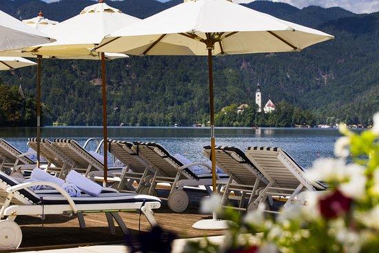 The private beach of Grand Hotel Toplice