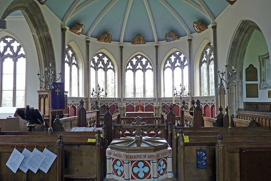 Moreton, UK: Apse Windows at St Nicholas' Church Engraved by Sir Laurence Whistler