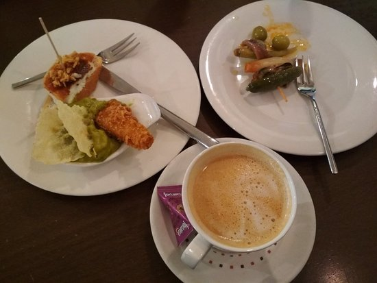 Octopus with guacamole was great, mashed bakalao in tempura, cheese with jam, brie with pineappl