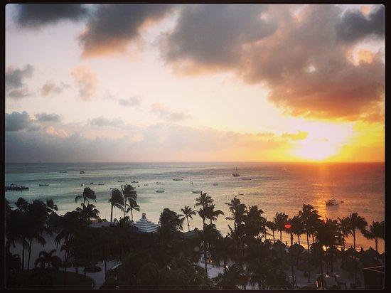 Aruba Marriott Resort & Stellaris Casino: Sunset view from our 8th floor balcony