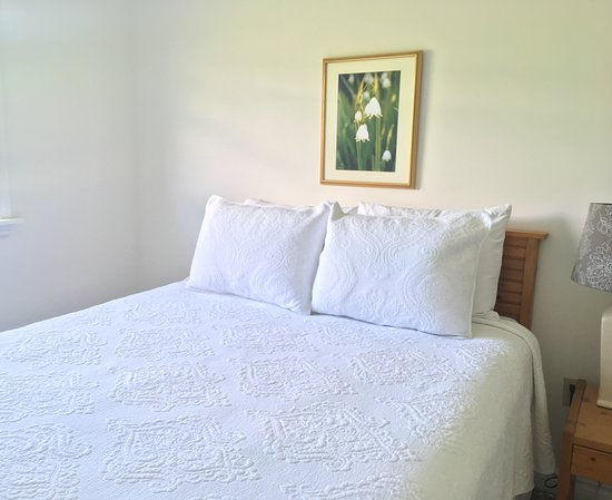Banbridge Inn: Apartments feature 1 Queen Bedroom with 100% Cotton Matelasse Bedding and Local Artwork