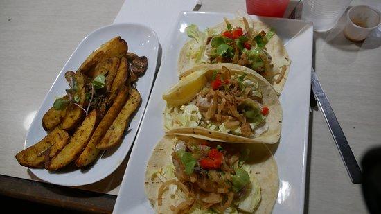 La Cambija: Amazing Fish tacos with tuna -- and tasty rosemary baked potatoes also!