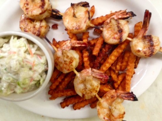 Lake Ozark, MO: Grilled Shrimp with Sweet Potato Fries and  homemade cole slaw