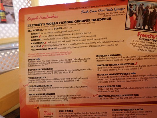 Menu picture of frenchy 39 s south beach cafe clearwater for Table 52 menu chicago