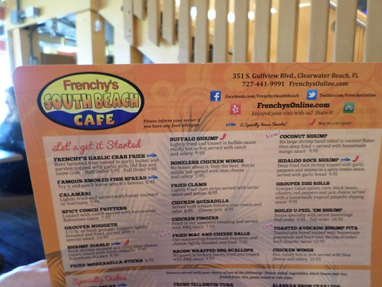 Frenchy S Cafe Clearwater Menu