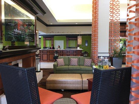 Lobby Towards Reception View Picture Of Hilton Garden Inn Indianapolis Northeast Fishers Tripadvisor