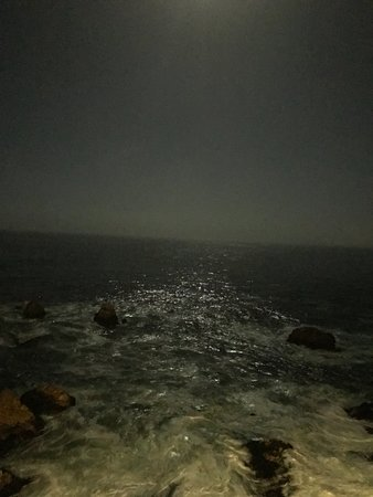 """our room view at 4AM with the light of the """"Super Moon""""."""
