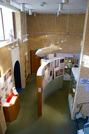 Sudbury, UK: Model of a german Zeppelin floating over museum displays