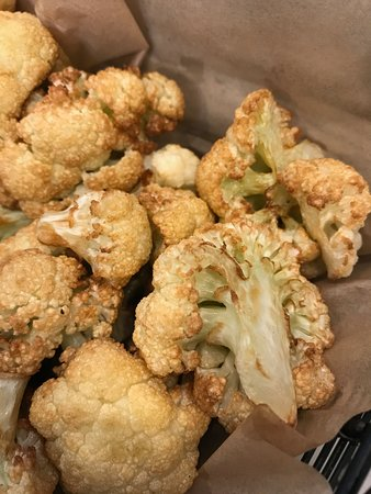 Oren's Hummus: Cauliflower fries with pesto labane