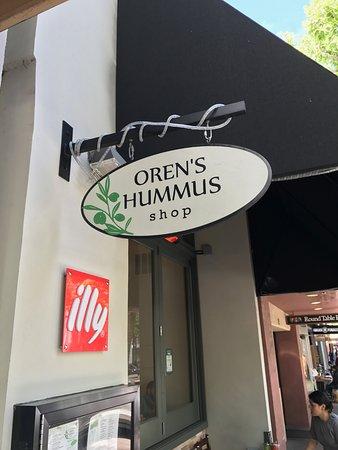 Oren's Hummus: Logo outside the restaurant