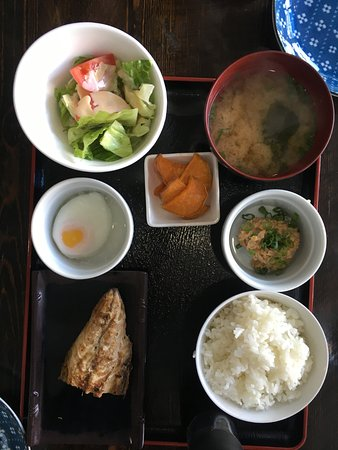 Traditional japanese Breakfast with Grilled mackerel  This time with