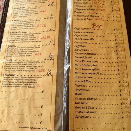 The menu - Picture of Caffe Ristorante Roma, Venice